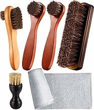 Zjoey Horsehair Shoe Polishing Brush Kit Dual Side