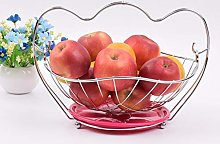 ZJZ Silver Round Fruit Basket With Handle,Blue