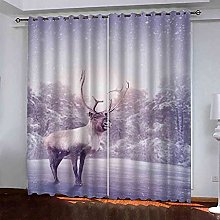ZJZWLW Blackout Curtain For Bedroom 59X65 Inch Elk