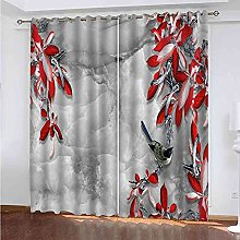 ZJZWLW Blackout Curtain For Bedroom 59X65 Inch Red