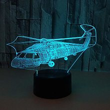 ZLDDE Creative 3D Helicopter Optical Light,Touch