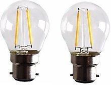 ZLL 2PCS 2W B22 LED Filament Bulbs G45 2 COB 200