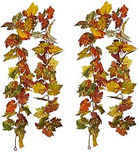 ZLLY Artificial Fall Maple Leaf Garlands, Hanging