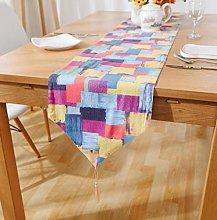 ZLP Plaid Linen Table Flag Home Decoration