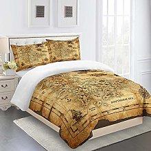 ZLVDRQ Duvet Cover Single Bed, 3 Pieces 3D Vintage