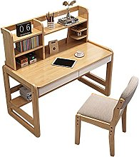 zlw-shop Tables Solid Wood Desk With Bookshelf