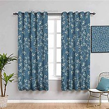 ZLYYH Bedroom Curtains Blue abstract plant flower