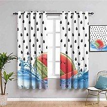 ZLYYH Bedroom Curtains Cartoon fruit watermelon