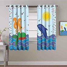 ZLYYH Bedroom Curtains Cartoon ocean whale blue