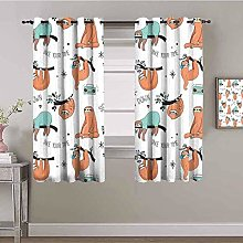 ZLYYH Bedroom Curtains Colorful cute animal sloth