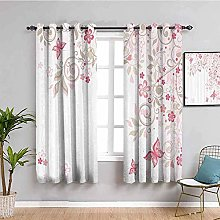 ZLYYH Bedroom Curtains Pink flowers plants