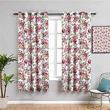 ZLYYH Bedroom Curtains Pink flowers plants fresh