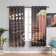 ZLYYH Blackout Curtains Cinema popcorn retro board