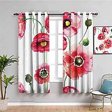 ZLYYH Curtains Red fashion plants flowers W52 xL84