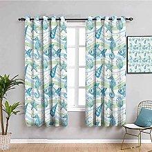 ZLYYH Pencil Pleat Curtains Blue fashion animal
