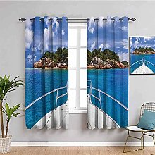 ZLYYH Pencil Pleat Curtains Blue sea ship island
