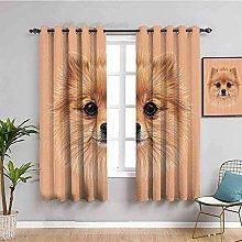 ZLYYH Pencil Pleat Curtains Brown cute animal dog