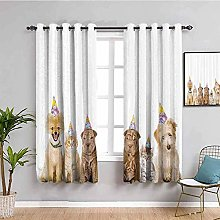 ZLYYH Pencil Pleat Curtains White simple animal