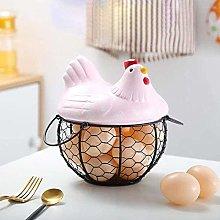 ZM-Shoes Chicken Shape Ceramics Metal Egg Basket