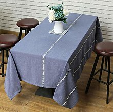 Zmdnl Vintage Blue Tablecloth with White Crochet