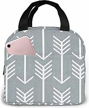 zmzm Gray and White Patterns Portable Insulated