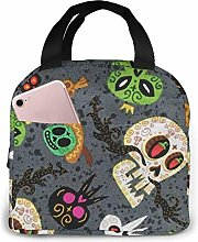 zmzm Gray Sugar Skull Portable Insulated Lunch Bag