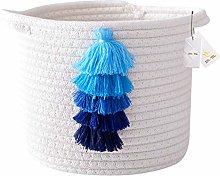 Znvmi Small Storage Basket Tassels Cotton Rope