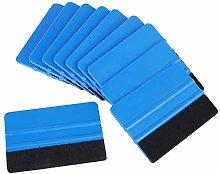 znwiem 10Pcs Felt Edge Squeegee Blue Scraper Kit