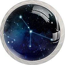 Zodiac Star 4pcs Door Knob, Round Kitchen Door