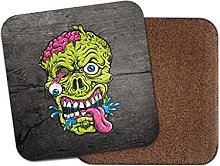 Zombie Head Horror Scary Cork Backed Drinks