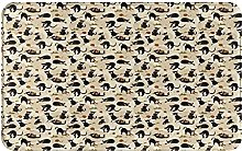 ZOMOY carpet bath mat,rug,Black Cat With Pointy