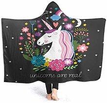 ZOMOY Hoodie Blanket Warm Flannel,Unicorn Diamonds