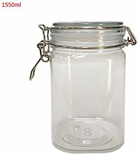 ZOOMY Plastic Square Clip Top Storage Jar With