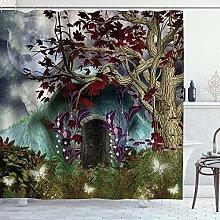 ZORMIEY Shower Curtain,Fantasy Mystical Tree Anime