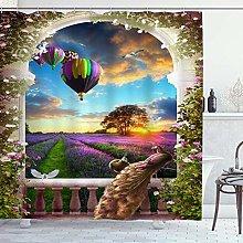 ZORMIEY Shower Curtain,Lavender Fields Hot Air