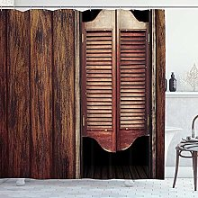 ZORMIEY Shower Curtain,Retro Farm House Wooden