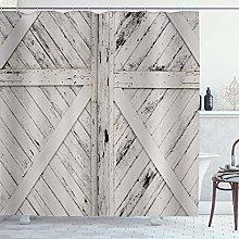 ZORMIEY Shower Curtain,Rustic Barn Door Wooden