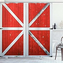 ZORMIEY Shower Curtain,Rustic Red Wooden Barn