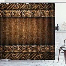 ZORMIEY Shower Curtain,Rustic Wood Barn Door