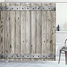 ZORMIEY Shower Curtain,Rustic Wood Fence Door with
