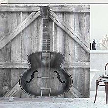 ZORMIEY Shower Curtain,Vintage Acoustic Instrument