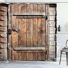 ZORMIEY Shower Curtain,Vintage Rustic Wooden Door