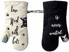 ZORR Oven Gloves Cotton for cat Lovers, Heat