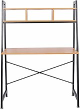Zoyo Oak Ladder Desk with Storage Shelves for Home
