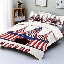 Zozun Duvet Cover Set,Striped Circus Tent with