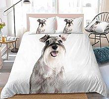 zpangg 3D Dog Duvet Cover Set Schnauzer Bed Set