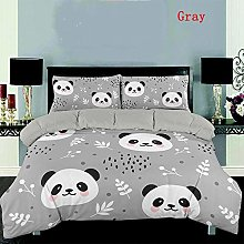 zpangg Gray Cartoon Panda 3D Bedding Set Printed