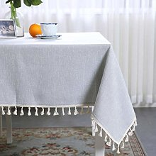 ZPN Solid color tablecloth cotton and linen tassel
