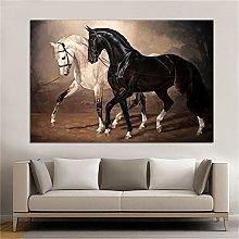 zqyjhkou Black and white horse wall art/Print on
