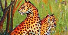 zqyjhkou Two yellow leopards/Print wild leopard
